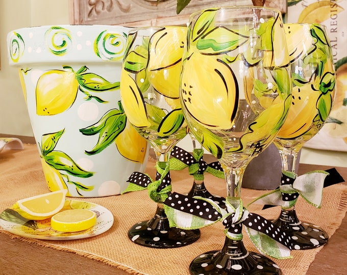 Lemon Wine Glass Hand Painted