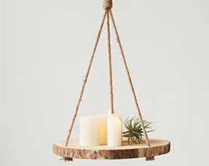 """16"""" Round Hanging Paulownia Wood Slice"""