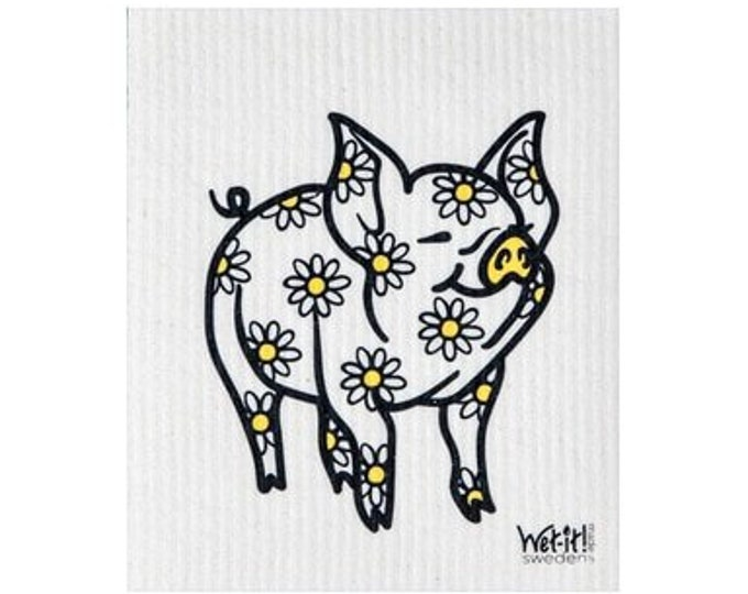 Pig with Flowers Swedish Cloth