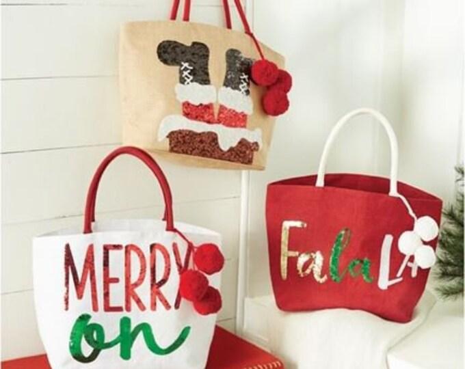 Christmas Pom-Pom Dazzle Totes