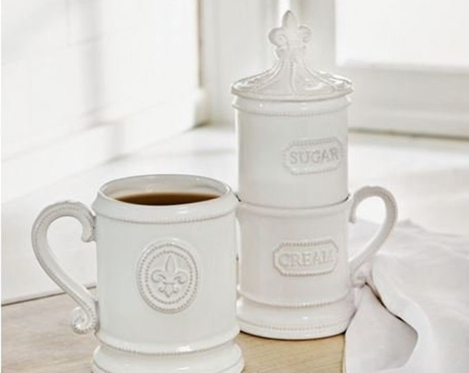 Fleur De Lis Stacked Cream & Sugar Set
