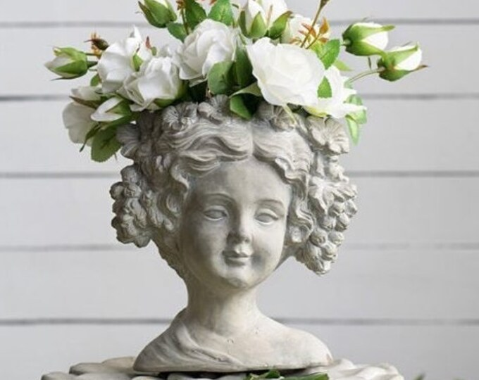 Lady Head Planter, Cement Planter, Planter, Curly Head Planter