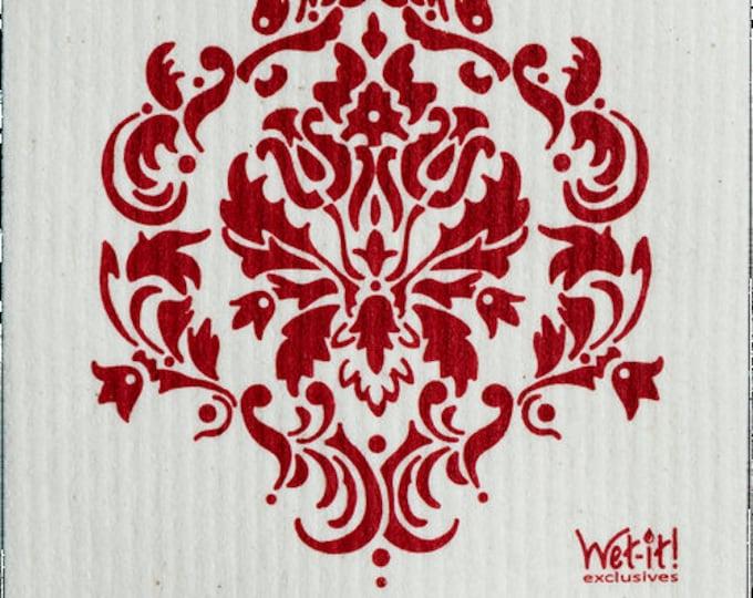 Damask Red Swedish Cloth