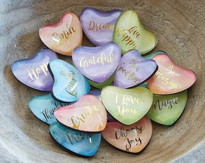 Heart Shaped Magnets With Saying, Watercolor Magnetics, Fridge Accessories, Magnetic Board Accessories, Heart magnets, Choose any Five