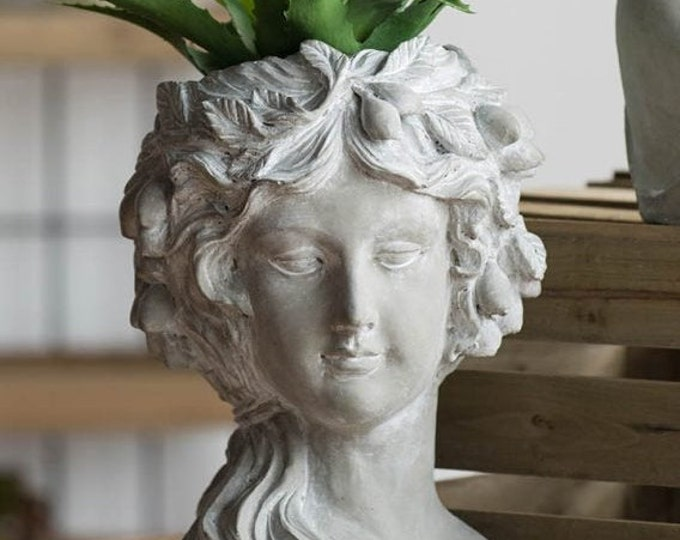 Lady Head Planter, Cement Planter, Head Planter, Lady Planter