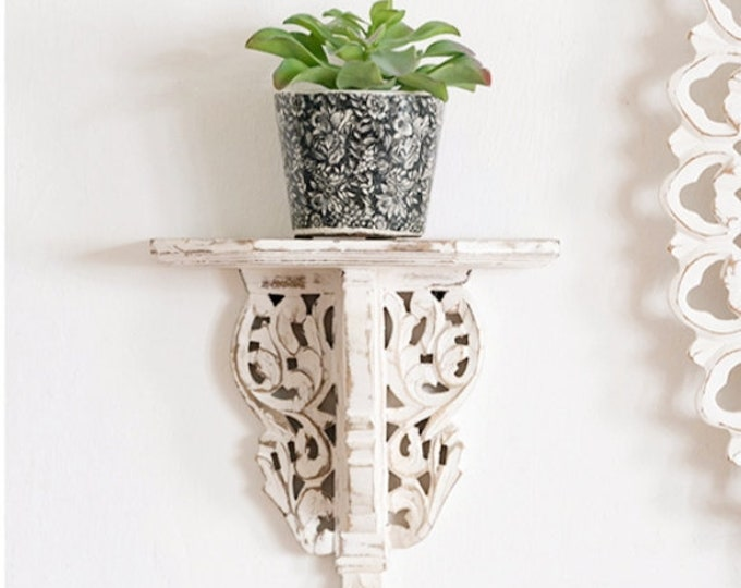 White Distressed Carved Design Wall Shelf