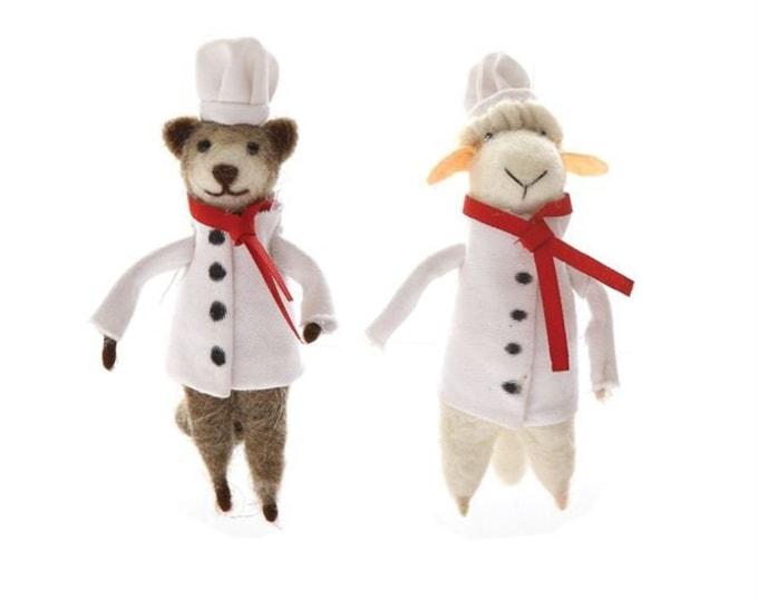 "5""H Wool Felt Chef Animal Ornament"
