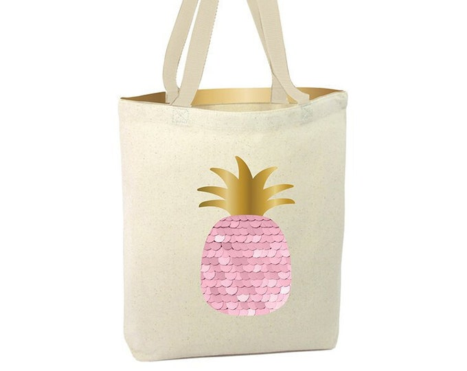 Pink Pineapple Shopper Tote, Tote Bag, Eco- Friendly, Sparkly Pink Bag, Carry All, Tote Bag