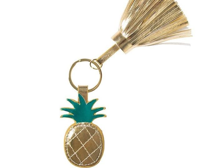 Pineapple Keychain, Gold Pineapple, Tassels Key Chain, Key Ring