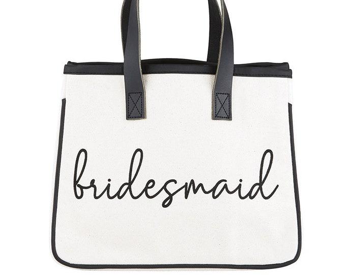 Bridesmaid Canvas Tote Bag, bridal party tote, wedding gift, bridesmaid gift