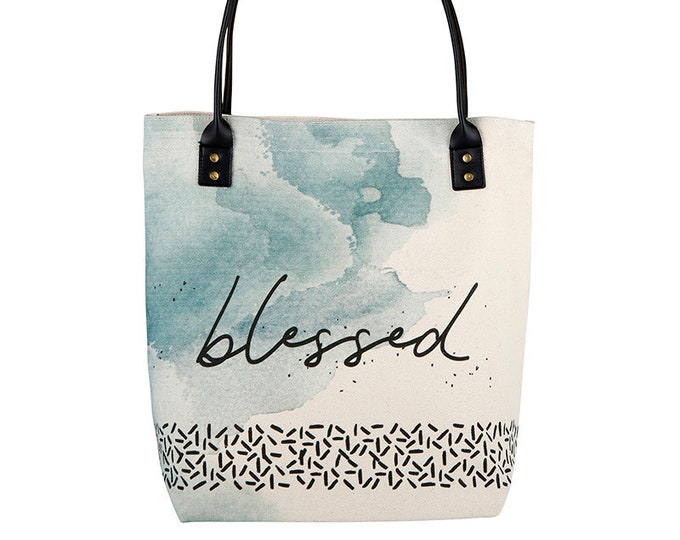 Tote Bag-Blessed tote, blue, Everyday bag, birthday gift, Shopper, Shopping Bag