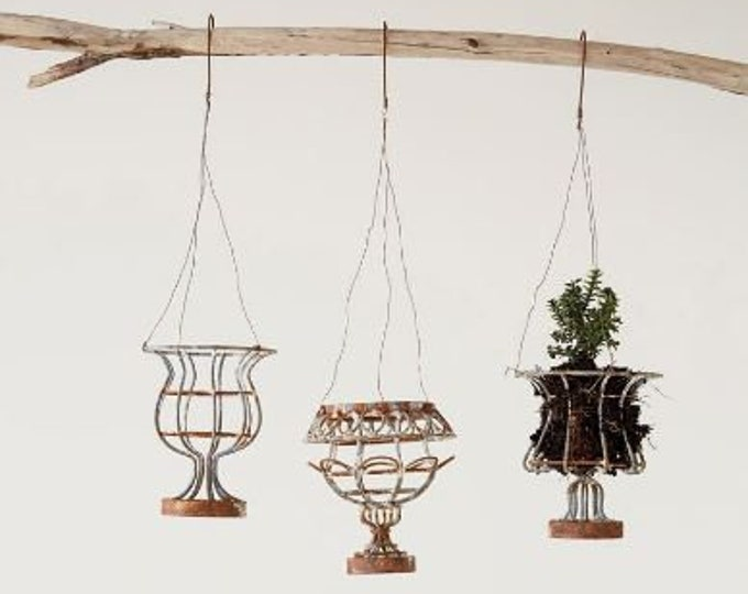 Distressed Mini Hanging Urn