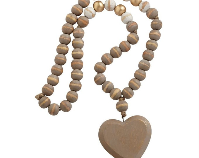 Wooden Heart Pendant Decor Beads