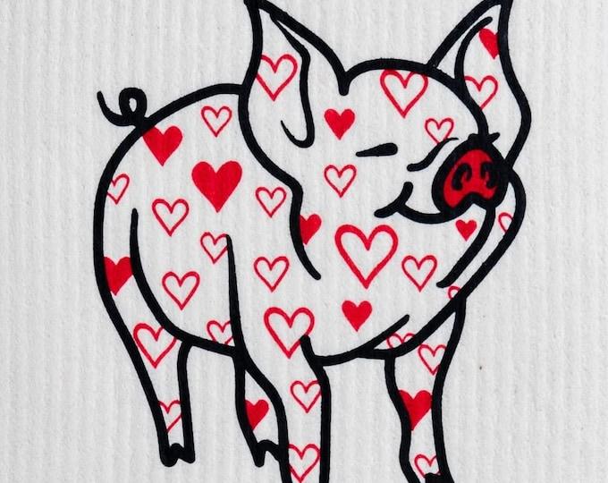 Pig with Hearts Swedish Cloth