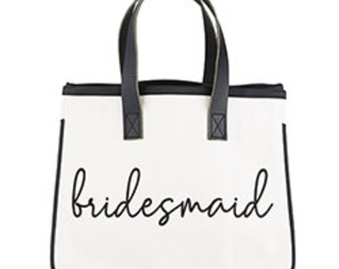 Bridesmaid canvas tote, bridal party, wedding gifts