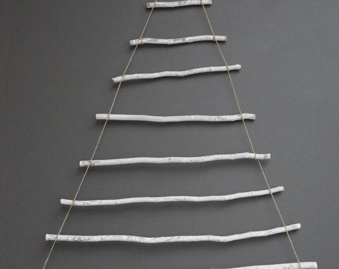 """39-1/2""""L x 45-1/2""""H Wood Sticks Wall Christmas Tree Decor w/ Star"""