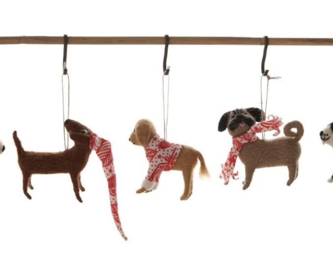Wool Felt Dog Ornament, 5 Styles