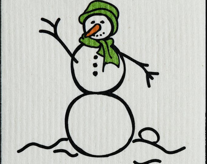 Snowman Green Swedish Cloth
