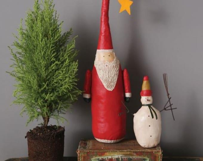 Canvas Hand-Painted Santa w/ Oversized Hat Decoration