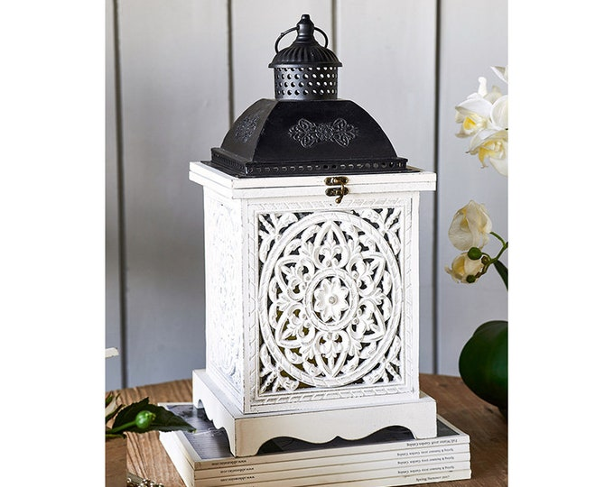 Large White Distressed lantern with black top