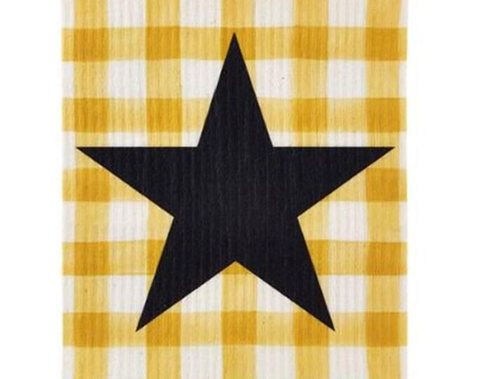 Yellow Buffalo Check Star Swedish Dishcloth
