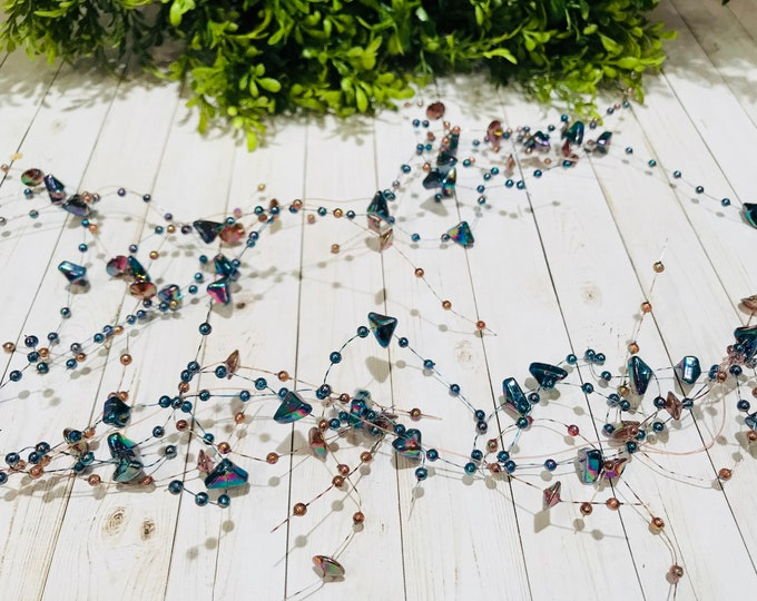 5' Bead Garland-Iridescent Blue
