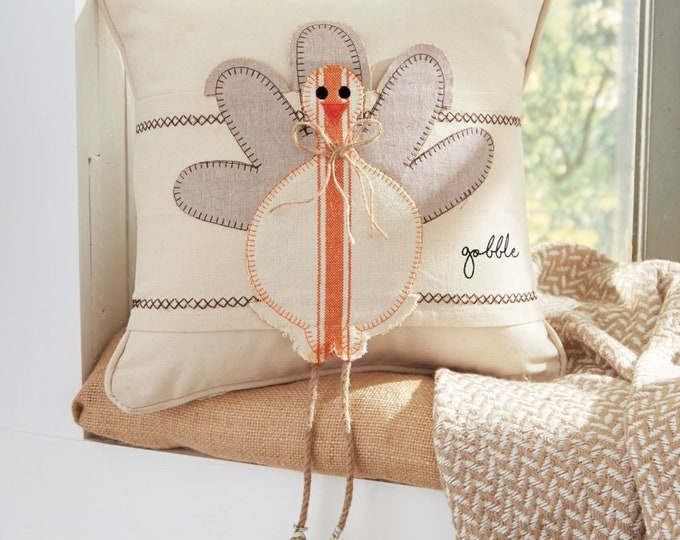 Mud Pie Turkey Pillow Cover with Dangle Legs
