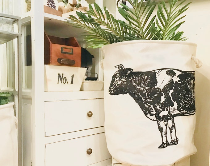 Cow Canvas Hamper