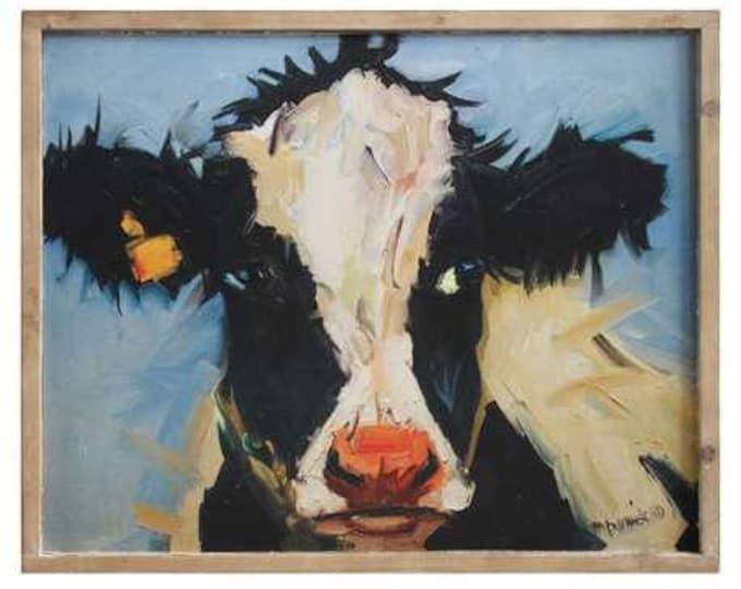 Wood-Framed Canvas Cow Wall Decor