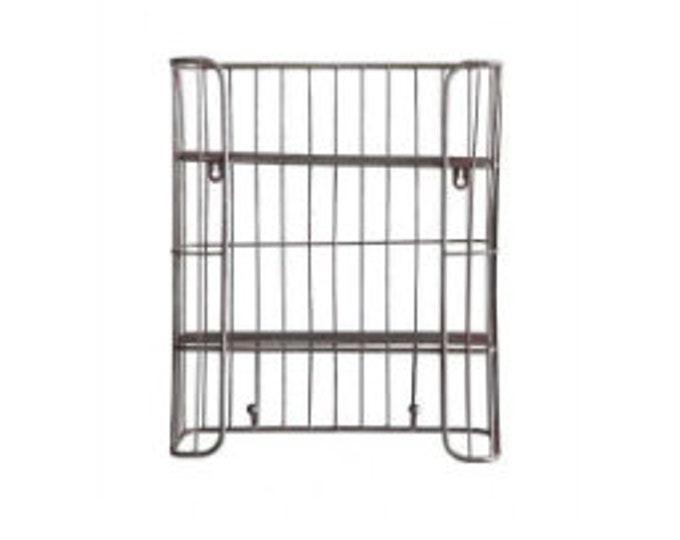 Metal Wire Shelf with Hooks