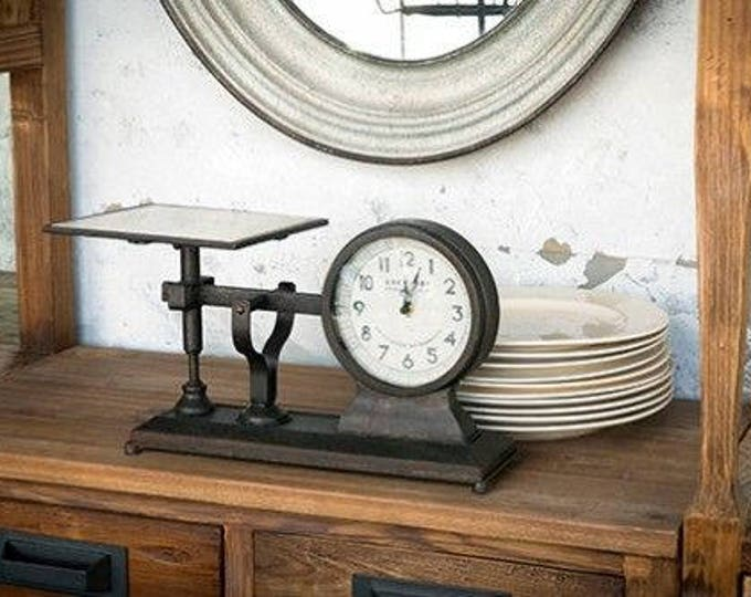 Vintage-Style Reproduction Scale with Clock