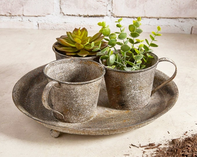 Rustic Outdoor Teacup Garden Planter