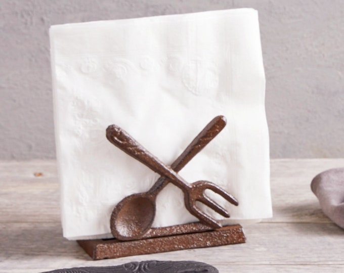 Fork and Spoon Metal Napkin Holder