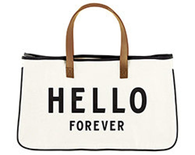 Hello forever canvas tote