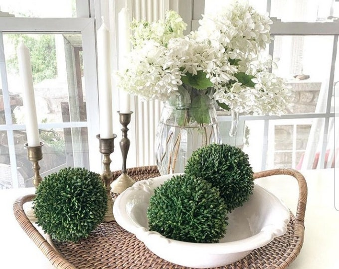 Boxwood Decorative Spheres - Set of 3