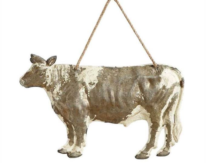 Embossed Tin Cow Wall Hanging