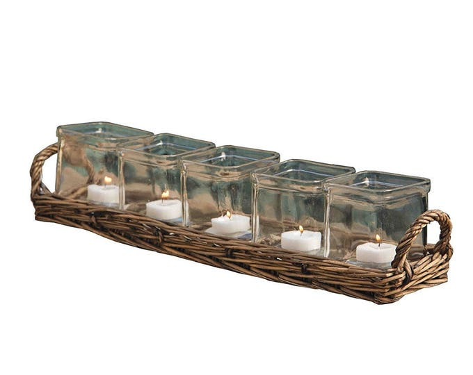 Wicker Tea Light Votive Set