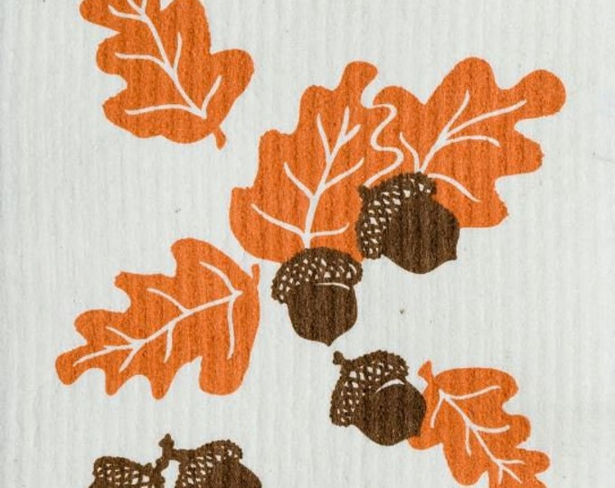 Acorns and leaves swedish cloth