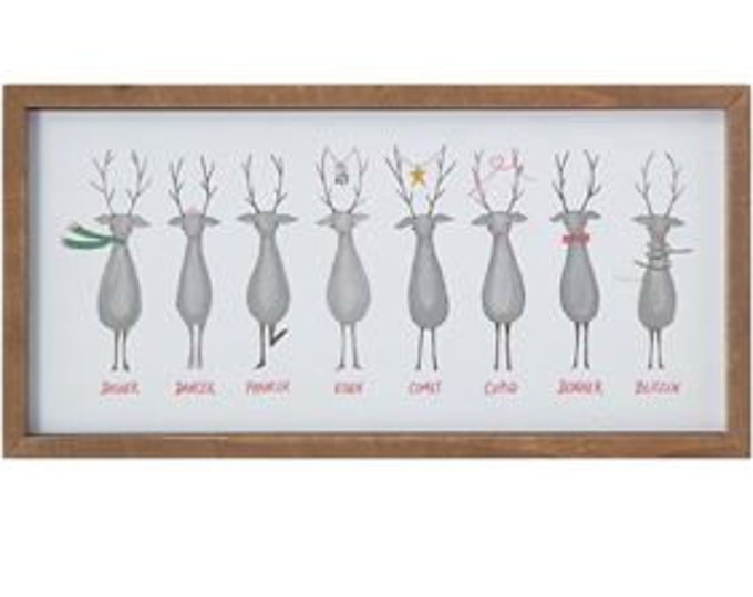 Santa's Reindeer Framed Wall Decor