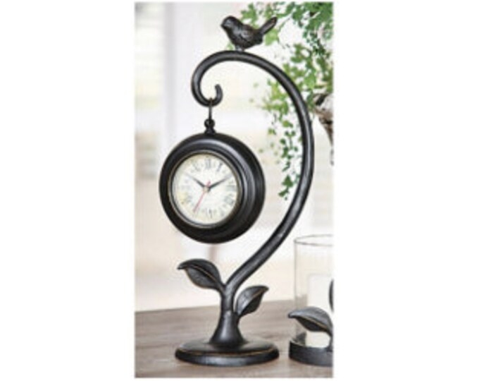 Hanging Metal Clock with Bird Accent