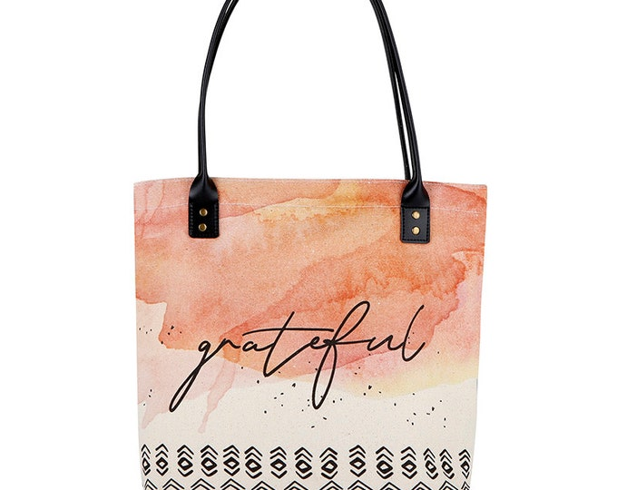 Tote Bag-Grateful tote, peach, Everyday bag, birthday gift, Shopper, Shopping Bag