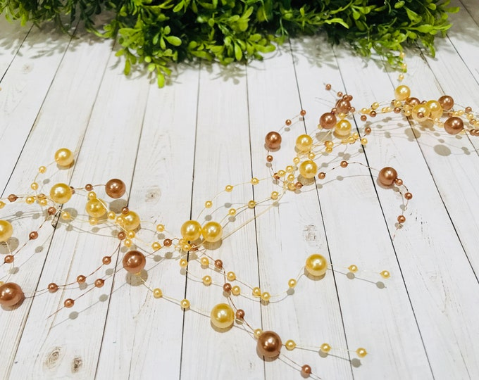 5 BEAD GARLAND - Amber and Bronze Pearl