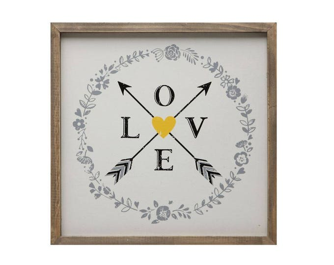 "Framed ""Love"" Wall Art with Arrows"