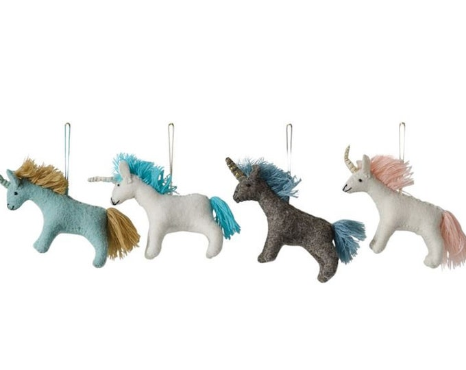 Wool Felt Unicorn Ornament, 4 Colors