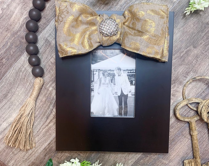 Burlap and Gold Frame