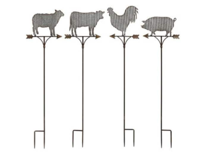 Farm Animal Garden Stakes, Pig Garden Stake, Cow Garden Stake, Sheep Garden Stake, Roster Garden Stake, Garden Decoration
