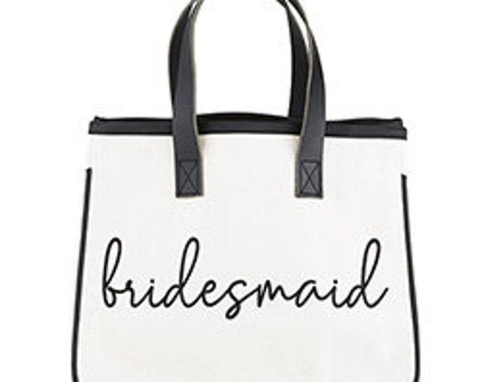 Bridesmaid canvas tote, bridal party, wedding gifts