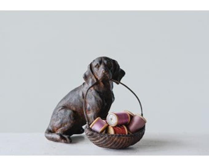 Resin Dog with Basket