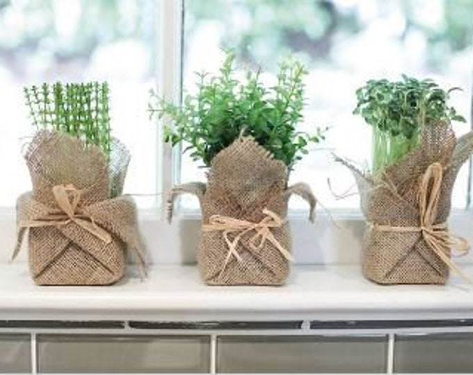 Burlap Wrapped Faux Herbs
