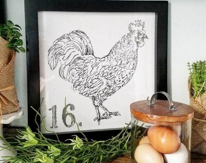 Wood Framed Chicken Art